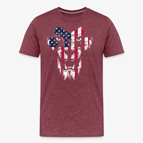 American Flag Lion - Men's Premium T-Shirt