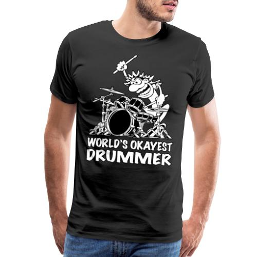 World's Okayest Drummer Cartoon Illustration - Men's Premium T-Shirt