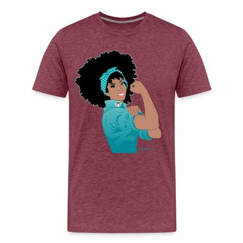 GlobalCouture WeCanDoIt TEAL Girl RGB png - Men's Premium T-Shirt