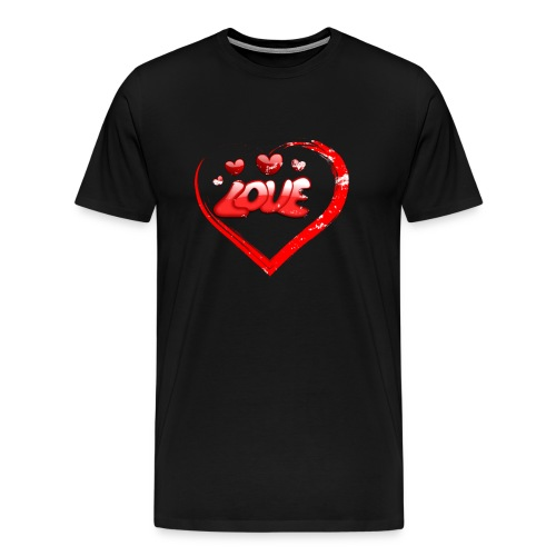 Red Love Heart Valentine Shirt Distressed Gifts - Men's Premium T-Shirt