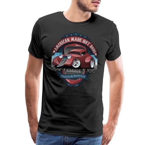 American Hot Rods Garage Vintage Car Sign Cartoon - Men's Premium T-Shirt