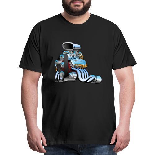 Hot rod race car engine cartoon - Men's Premium T-Shirt