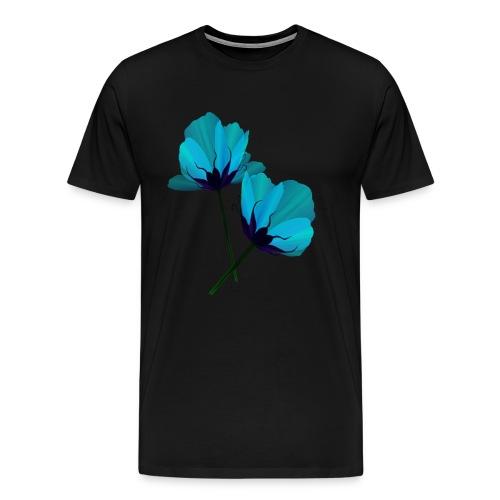 Two Electric Blue Flowers - Men's Premium T-Shirt