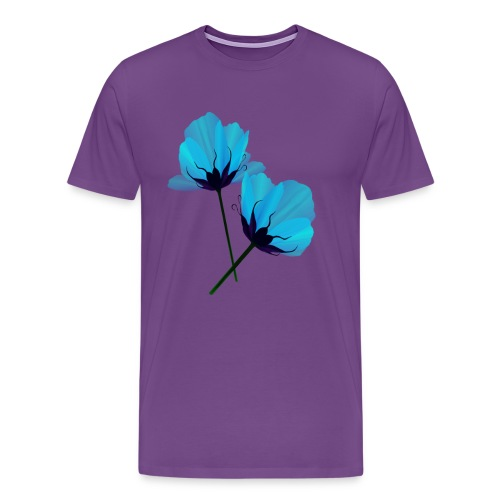 Two Electric Blue Flowers - Men's Premium T-Shirt