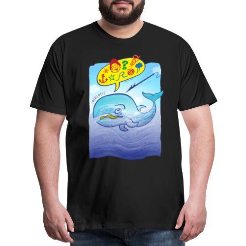 Menaced wild blue whale saying bad words - Men's Premium T-Shirt