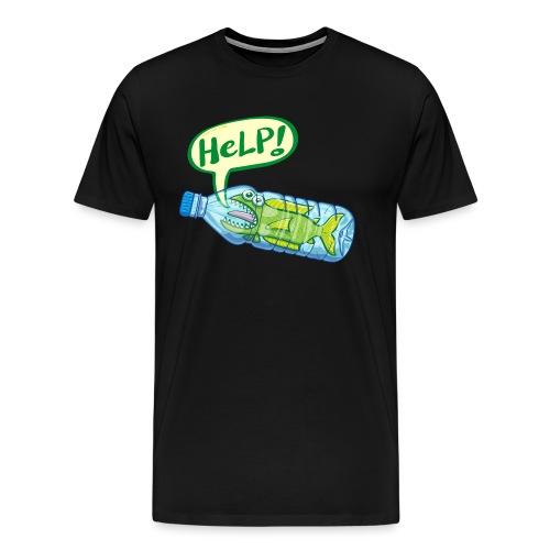 Fish inside a plastic bottle asking for help - Men's Premium T-Shirt
