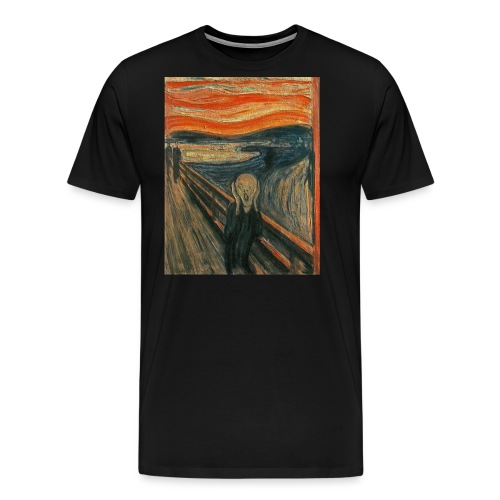 The Scream (Textured) by Edvard Munch - Men's Premium T-Shirt