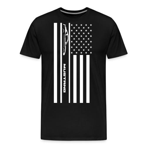 Mustang American Flag - Men's Premium T-Shirt