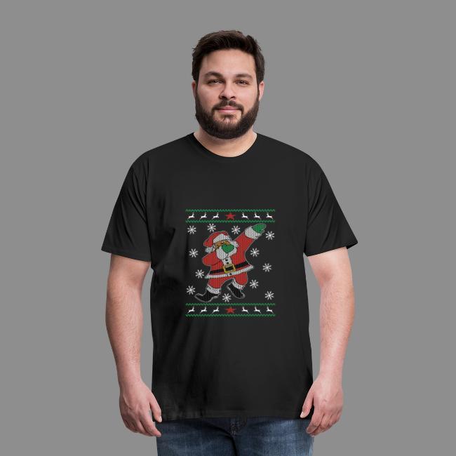 Dabbing Black Santa Ugly Christmas Sweater style   Men's Premium T Shirt