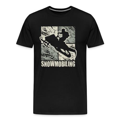 Snowmobile Rider Cubism - Men's Premium T-Shirt