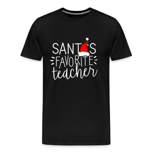 Santa's Favorite Teacher Christmas Teacher T-Shirt - Men's Premium T-Shirt
