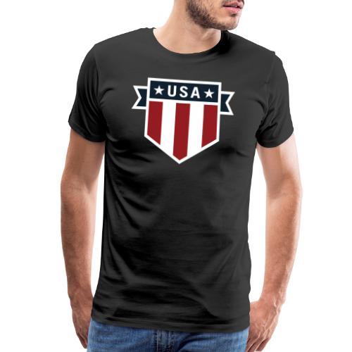 USA Pride Red White and Blue Patriotic Shield - Men's Premium T-Shirt