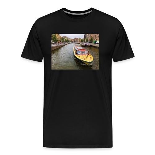 Boats in Amsterdam - Men's Premium T-Shirt