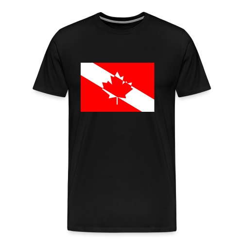 Canadian Diver Flag in Red & White - Men's Premium T-Shirt
