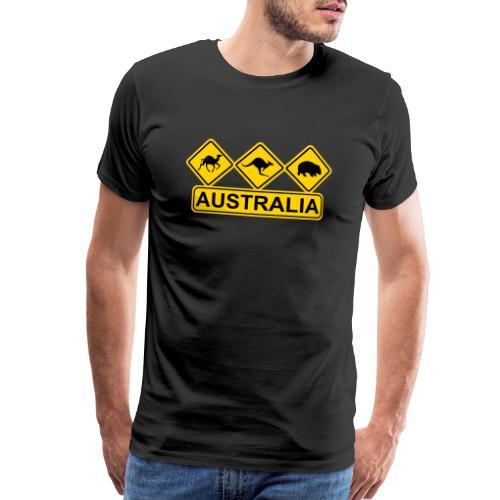 Australian 3 Animal Street Sign - Men's Premium T-Shirt