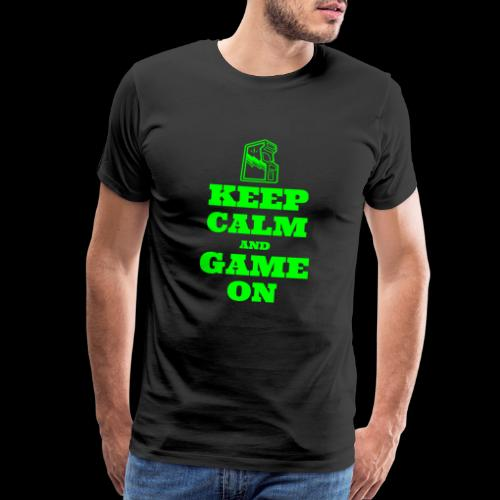Keep Calm and Game On | Retro Gamer Arcade - Men's Premium T-Shirt