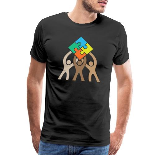 Teamwork and Unity Jigsaw Puzzle Logo - Men's Premium T-Shirt