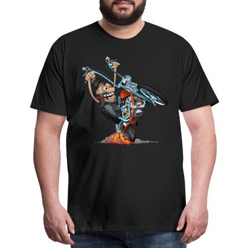 Funny biker riding a chopper cartoon - Men's Premium T-Shirt