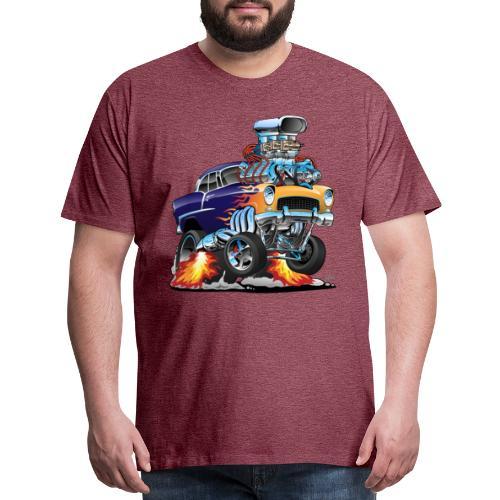 Classic Fifties Hot Rod Muscle Car Cartoon - Men's Premium T-Shirt