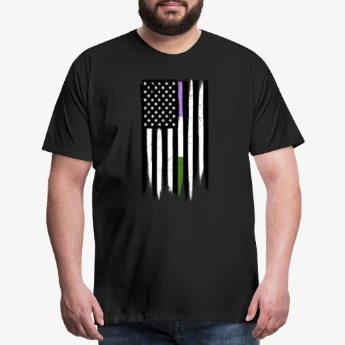 Genderqueer Thin Line American Flag - Men's Premium T-Shirt