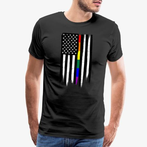 LGBTQ Thin Line Amercian Flag - Men's Premium T-Shirt