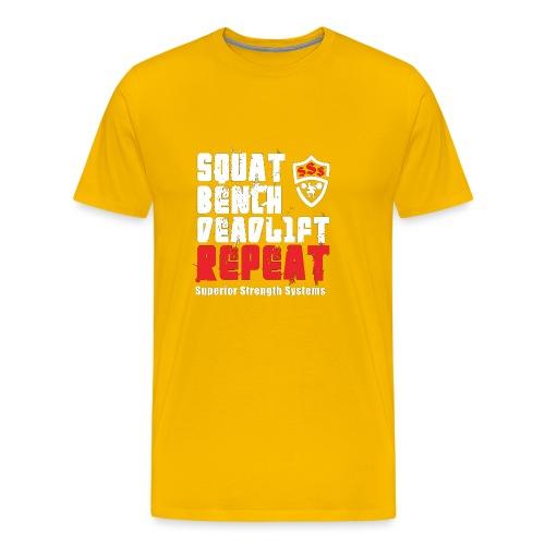 Squat Bench Deadlift Repeat with logo - Men's Premium T-Shirt