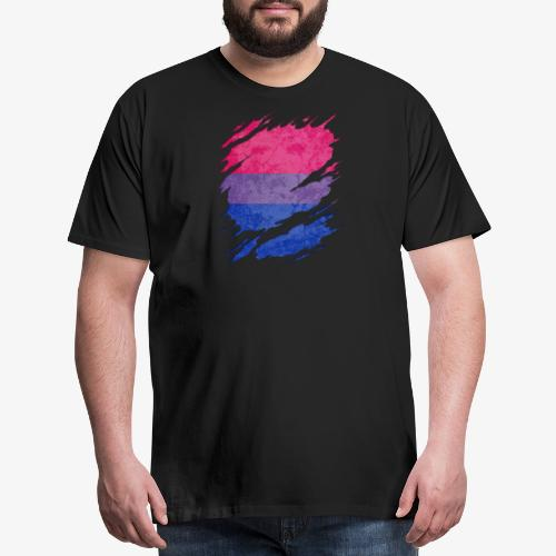 Bisexual Pride Flag Ripped Reveal - Men's Premium T-Shirt
