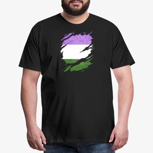 Genderqueer Pride Flag Ripped Reveal - Men's Premium T-Shirt