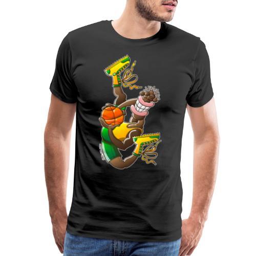 Acrobatic basketball player performing a high jump - Men's Premium T-Shirt