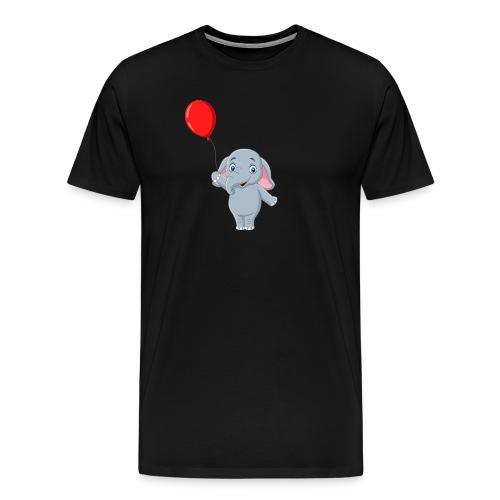 Baby Elephant Holding A Balloon - Men's Premium T-Shirt