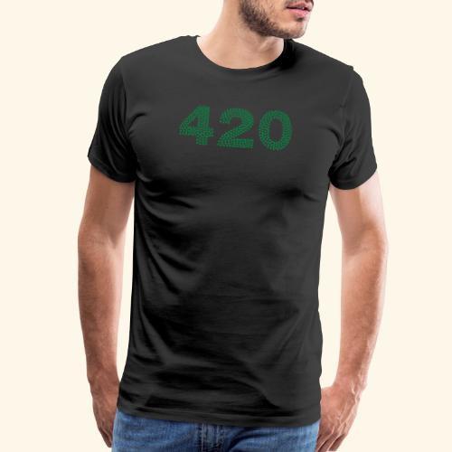 420 Logo made from Small Cannabis Leaves - Men's Premium T-Shirt