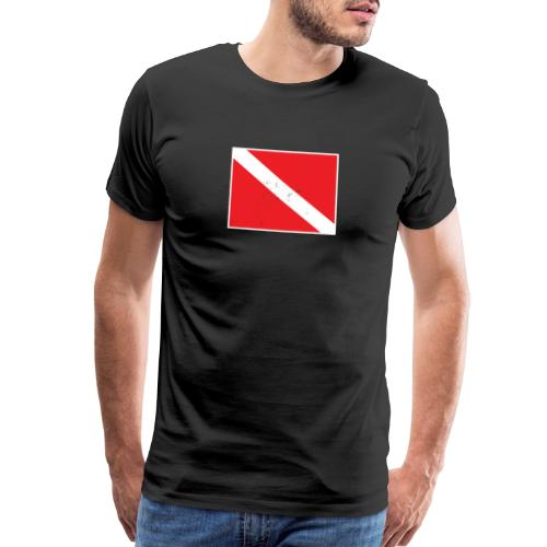 Scuba Diver Down Flag Distressed Look - Men's Premium T-Shirt