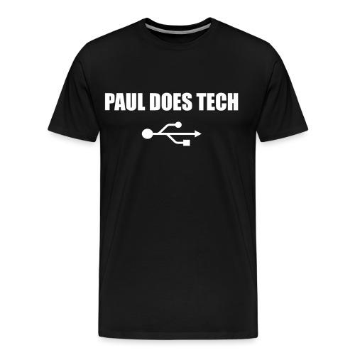 Paul Does Tech White Logo With USB - Men's Premium T-Shirt