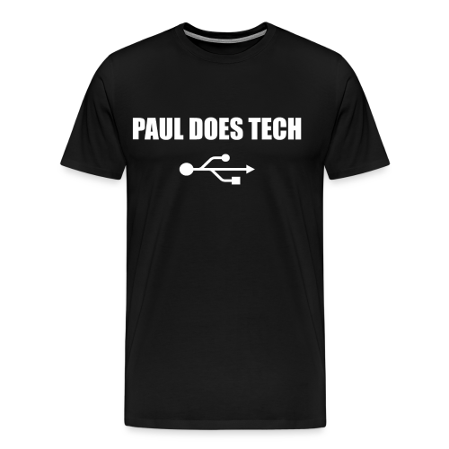 Paul Does Tech White Logo With USB - Men's Premium T-Shirt