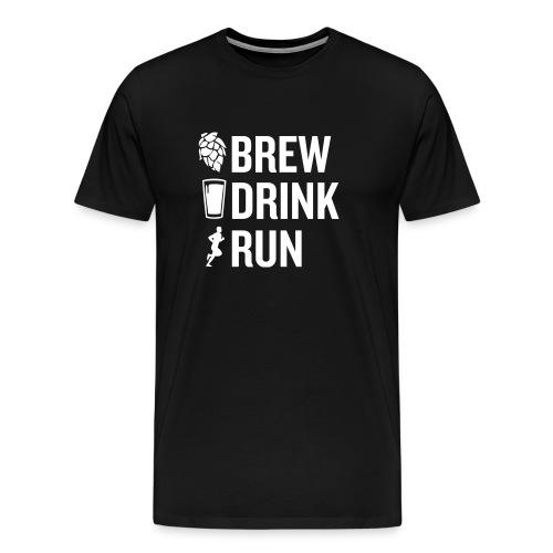 Brew Drink Run Square Logo - Men's Premium T-Shirt