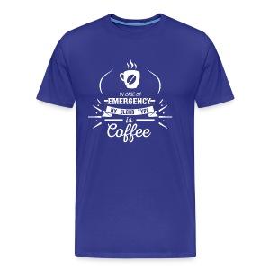 Coffee Blood Type | White Letters - Men's Premium T-Shirt