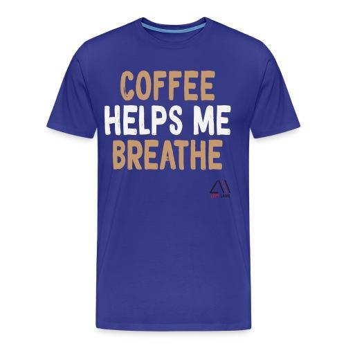 Coffee helps me breathe (white) - Men's Premium T-Shirt
