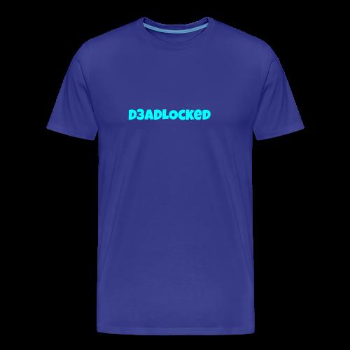 D3ADLocked Blue Text (Cyan Blue) Shirts And Hood - Men's Premium T-Shirt
