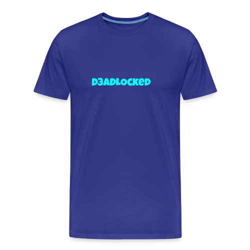 D3ADLocked Blue Text (Cyan Blue) Shirts And Hood - Men's Premium T-Shirt