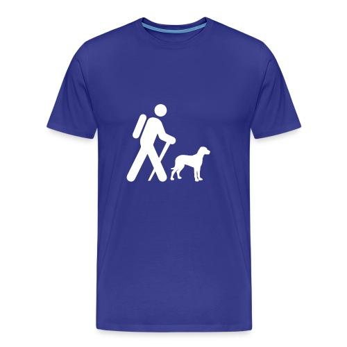 Hiking Man & Dog - Men's Premium T-Shirt