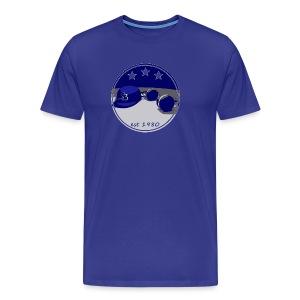 SB Logo Hat and Headphones Posterized - Men's Premium T-Shirt