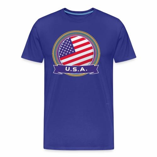 U.S.A. Happy Holi Color Framed U.S.A. Flag Banner - Men's Premium T-Shirt