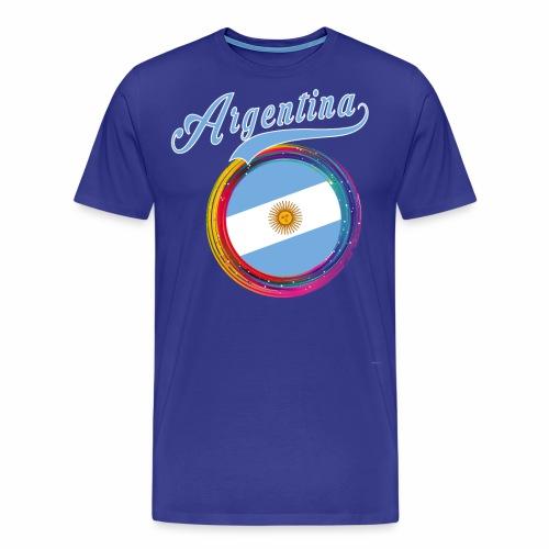 Argentina Sports Holi Color Framed Argentina Flag - Men's Premium T-Shirt
