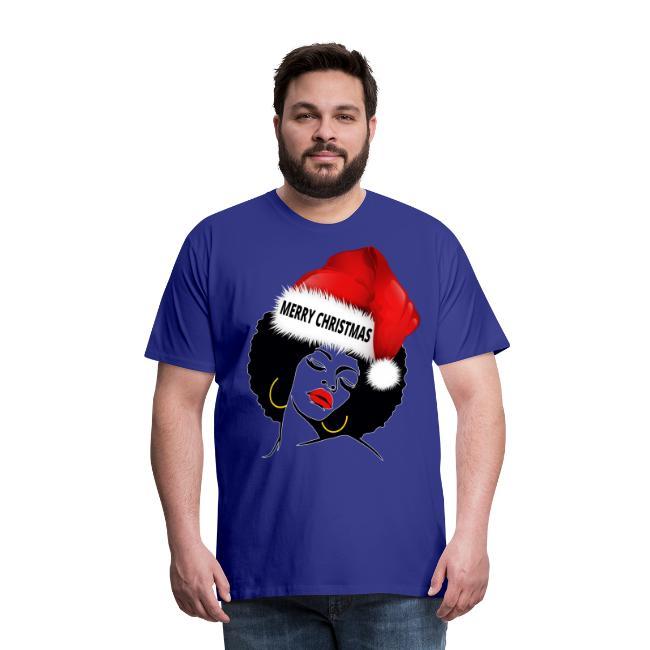 Santa Claus Afro Diva Merry Christmas Melanin - Mens Premium T-Shirt | Natural Hair T-Shirt