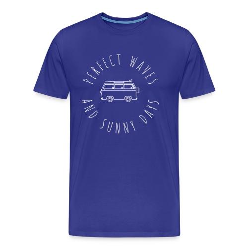 Perfect Waves & Sunny Days Graphic Retro Beach Van - Men's Premium T-Shirt