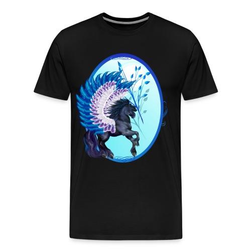 Blue Winged Pegasus Oval - Men's Premium T-Shirt
