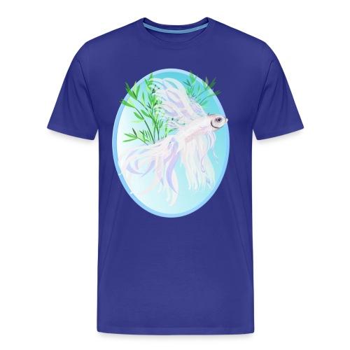 White Siamese Fighting Fish Oval - Men's Premium T-Shirt