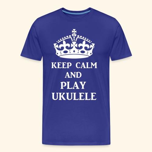 keepcalmplayukulelewht - Men's Premium T-Shirt