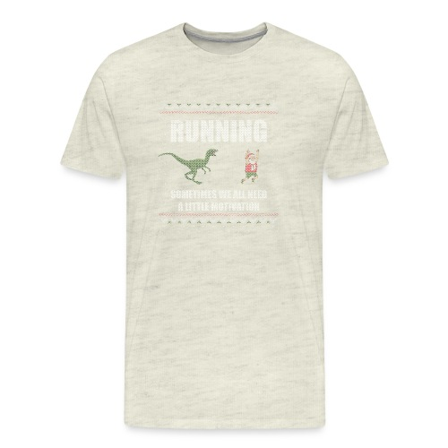 Ugly Christmas Sweater Running Dino and Santa - Men's Premium T-Shirt