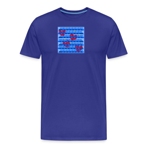 Graceful Blue Swans and Red Hearts Pattern - Men's Premium T-Shirt